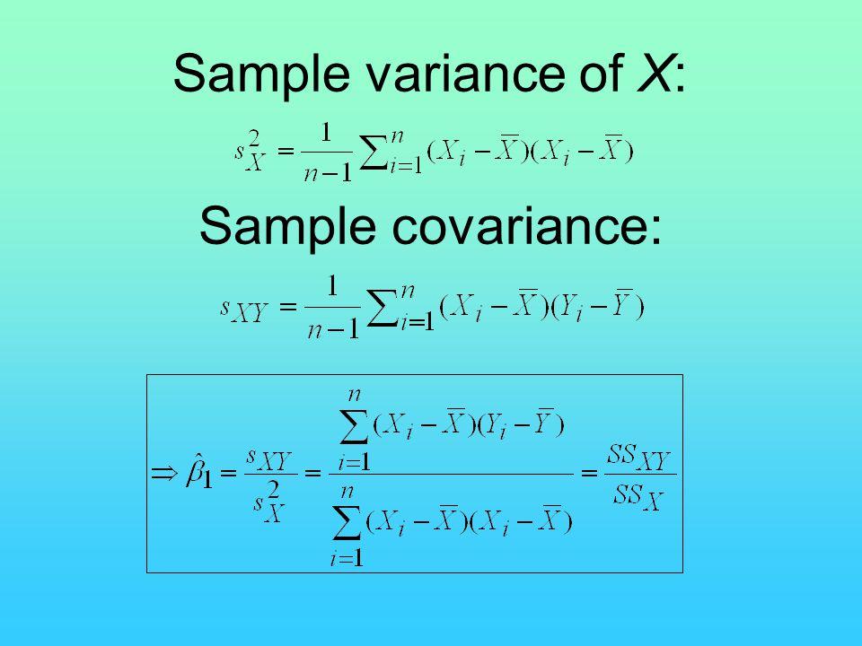 Sample variance of X: Sample covariance: