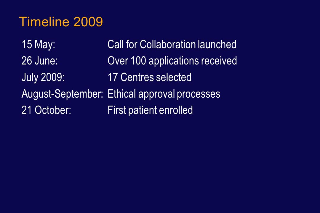 Timeline 2009 15 May: Call for Collaboration launched 26 June: Over 100 applications received July 2009: 17 Centres selected August-September: Ethical approval processes 21 October: First patient enrolled