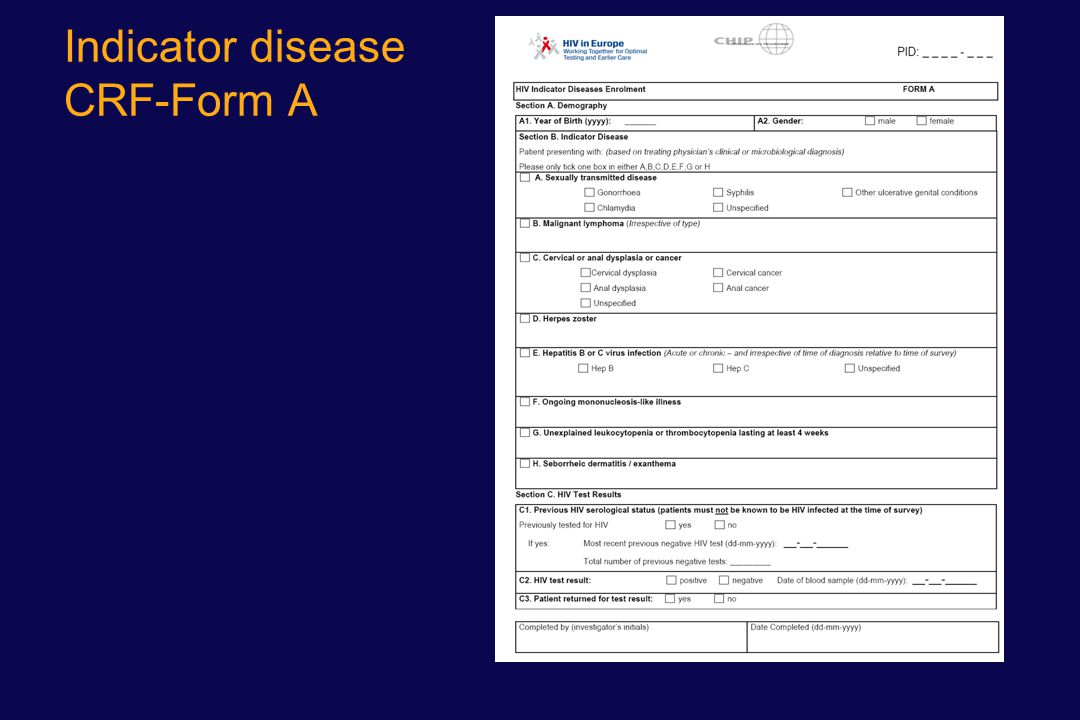 Indicator disease CRF-Form A