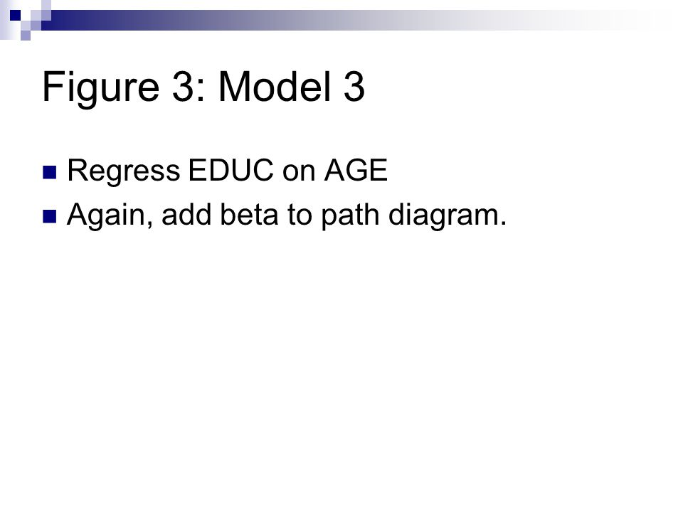 Figure 3: Model 3 Regress EDUC on AGE Again, add beta to path diagram.