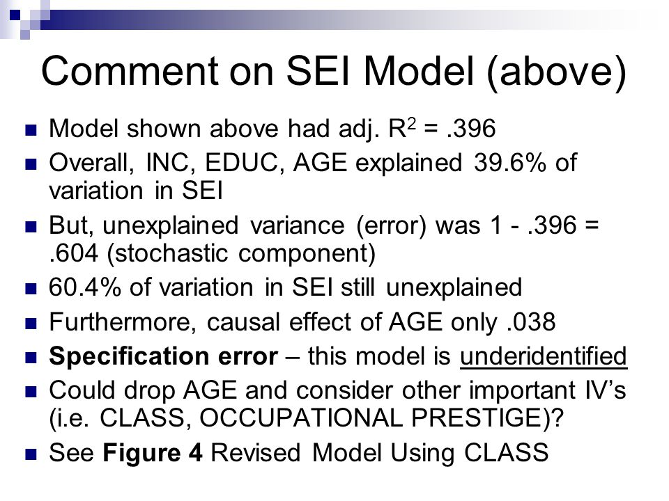 Comment on SEI Model (above) Model shown above had adj.