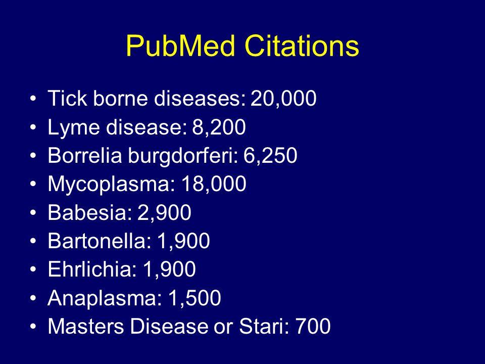 PubMed Citations Tick borne diseases: 20,000 Lyme disease: 8,200 Borrelia burgdorferi: 6,250 Mycoplasma: 18,000 Babesia: 2,900 Bartonella: 1,900 Ehrli