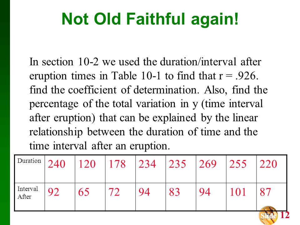 Slide Slide 12 Not Old Faithful again! In section 10-2 we used the duration/interval after eruption times in Table 10-1 to find that r =.926. find the