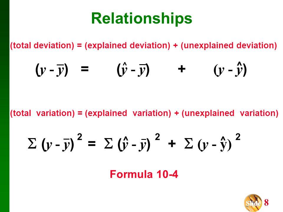 Slide Slide 8 (total deviation) = (explained deviation) + (unexplained deviation) ( y - y ) = ( y - y ) + (y - y ) ^ ^ (total variation) = (explained