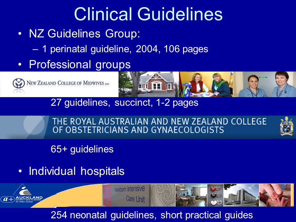 Clinical Guidelines NZ Guidelines Group: –1 perinatal guideline, 2004, 106 pages Professional groups 27 guidelines, succinct, 1-2 pages 65+ guidelines 254 neonatal guidelines, short practical guides Individual hospitals
