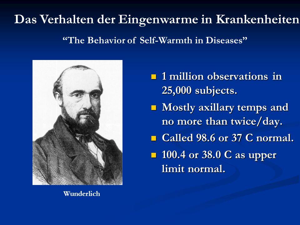 Das Verhalten der Eingenwarme in Krankenheiten The Behavior of Self-Warmth in Diseases Wunderlich 1 million observations in 25,000 subjects.