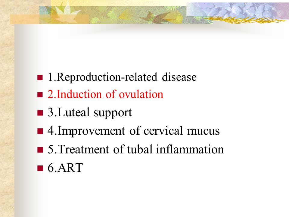 1.Reproduction-related disease 2.Induction of ovulation 3.Luteal support 4.Improvement of cervical mucus 5.Treatment of tubal inflammation 6.ART