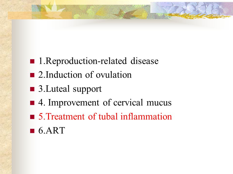 1.Reproduction-related disease 2.Induction of ovulation 3.Luteal support 4. Improvement of cervical mucus 5.Treatment of tubal inflammation 6.ART