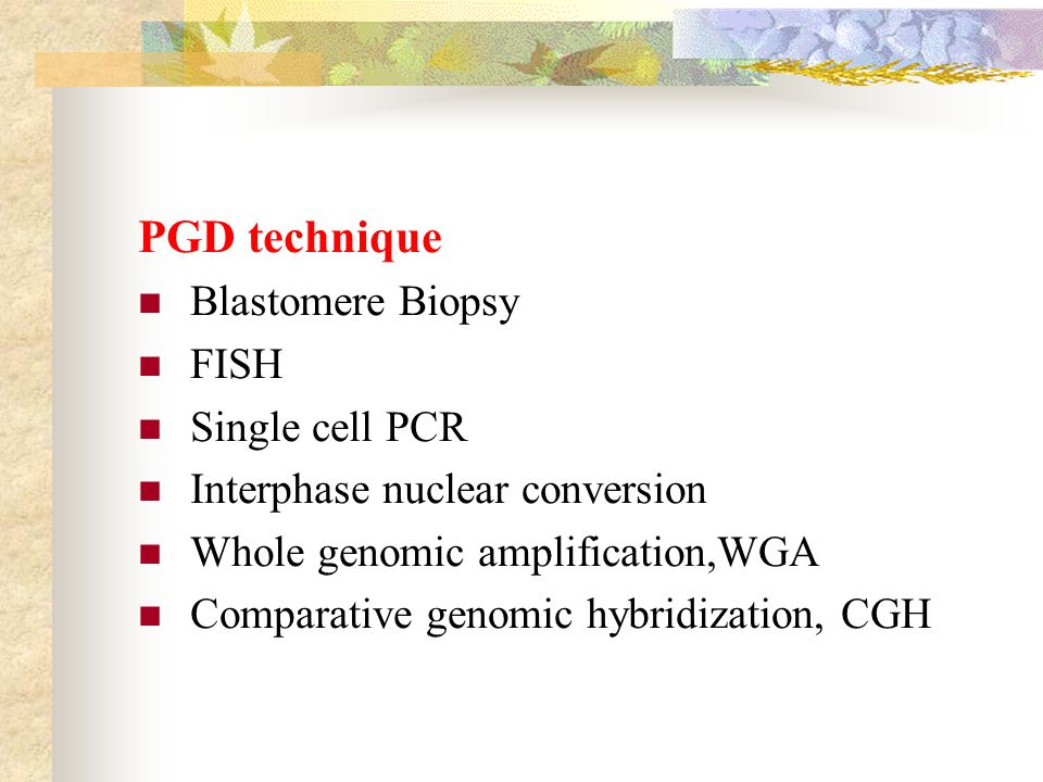 PGD technique Blastomere Biopsy FISH Single cell PCR Interphase nuclear conversion Whole genomic amplification,WGA Comparative genomic hybridization,