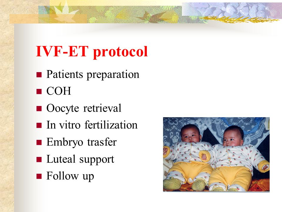 IVF-ET protocol Patients preparation COH Oocyte retrieval In vitro fertilization Embryo trasfer Luteal support Follow up
