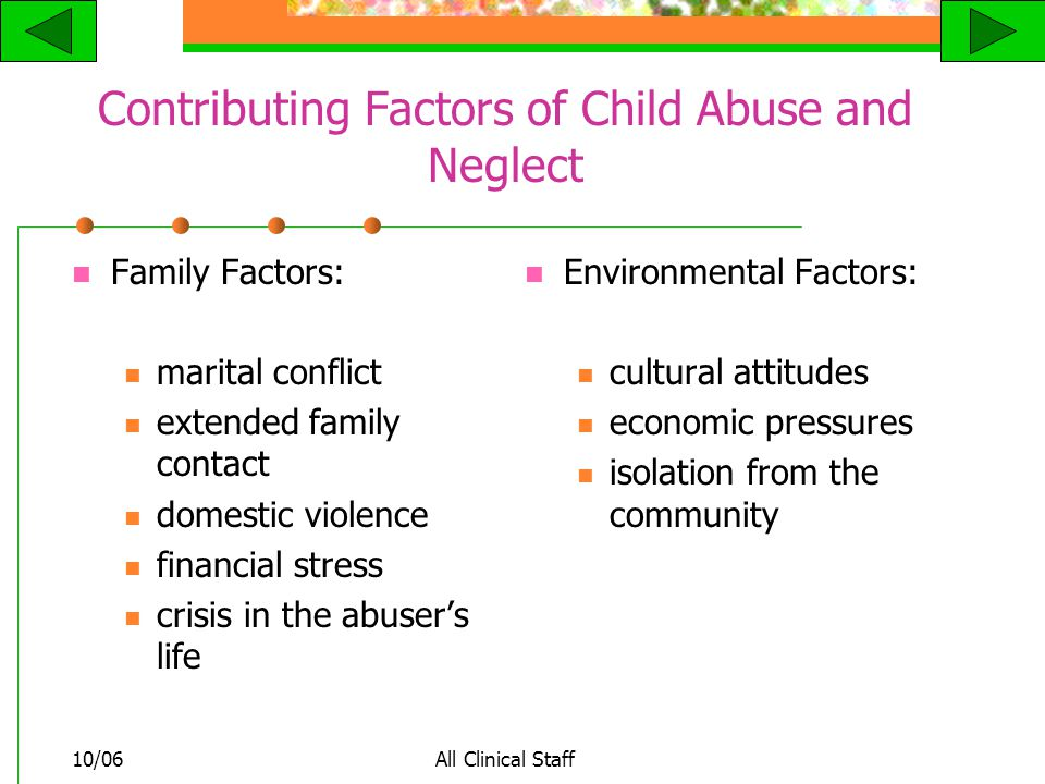 10/06All Clinical Staff Contributing Factors of Child Abuse and Neglect Family Factors: marital conflict extended family contact domestic violence financial stress crisis in the abuser's life Environmental Factors: cultural attitudes economic pressures isolation from the community
