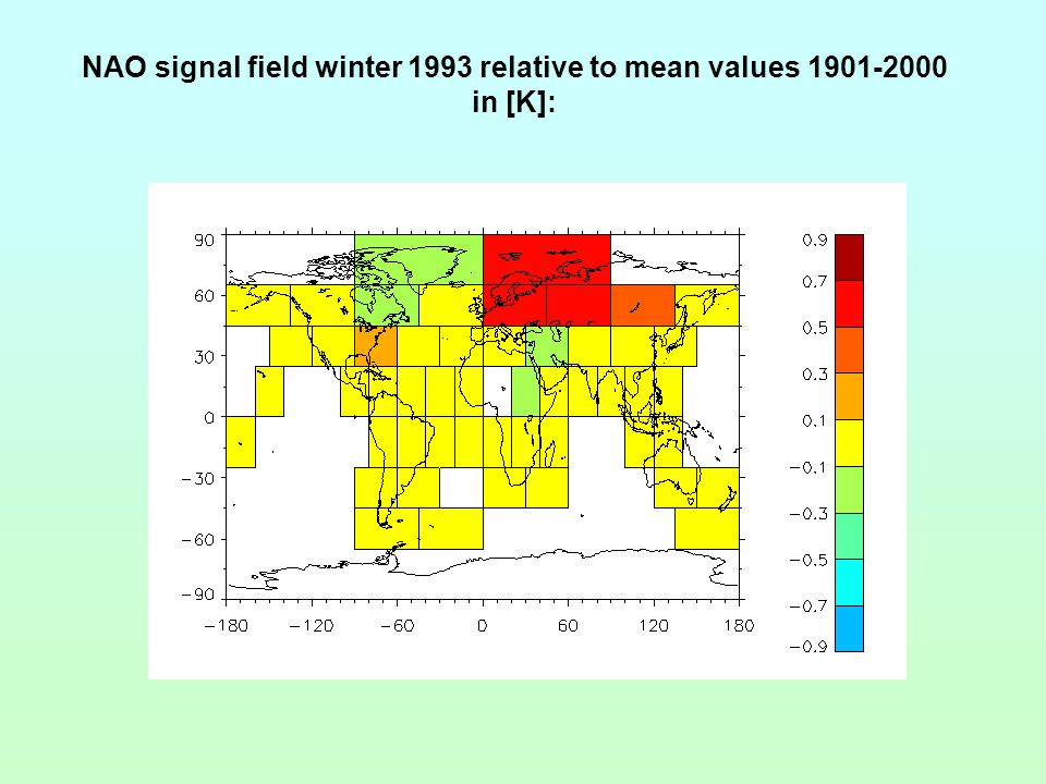 NAO signal field winter 1993 relative to mean values 1901-2000 in [K]: