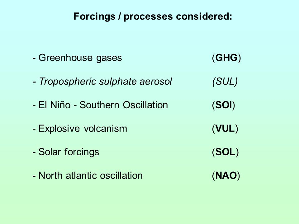 Forcings / processes considered: - Greenhouse gases(GHG) - El Niño - Southern Oscillation(SOI) - Explosive volcanism(VUL) - Solar forcings(SOL) - Nort