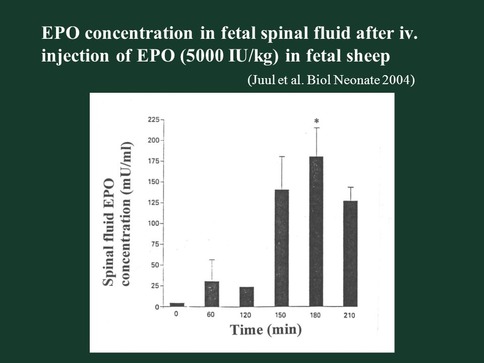 EPO concentration in fetal spinal fluid after iv.