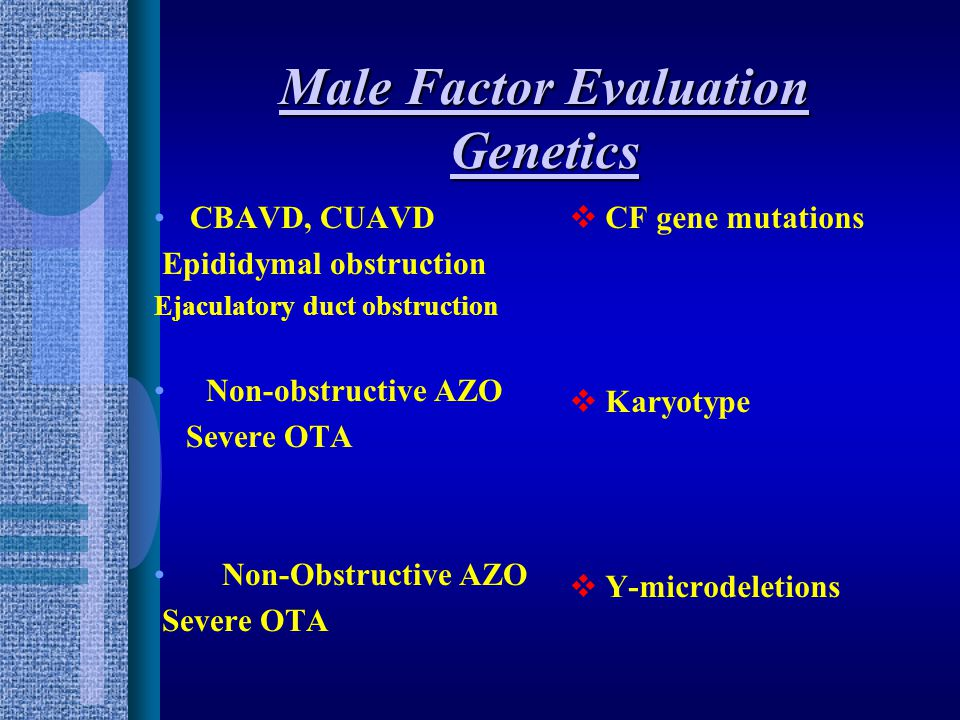 Male factor Endocrine evaluation