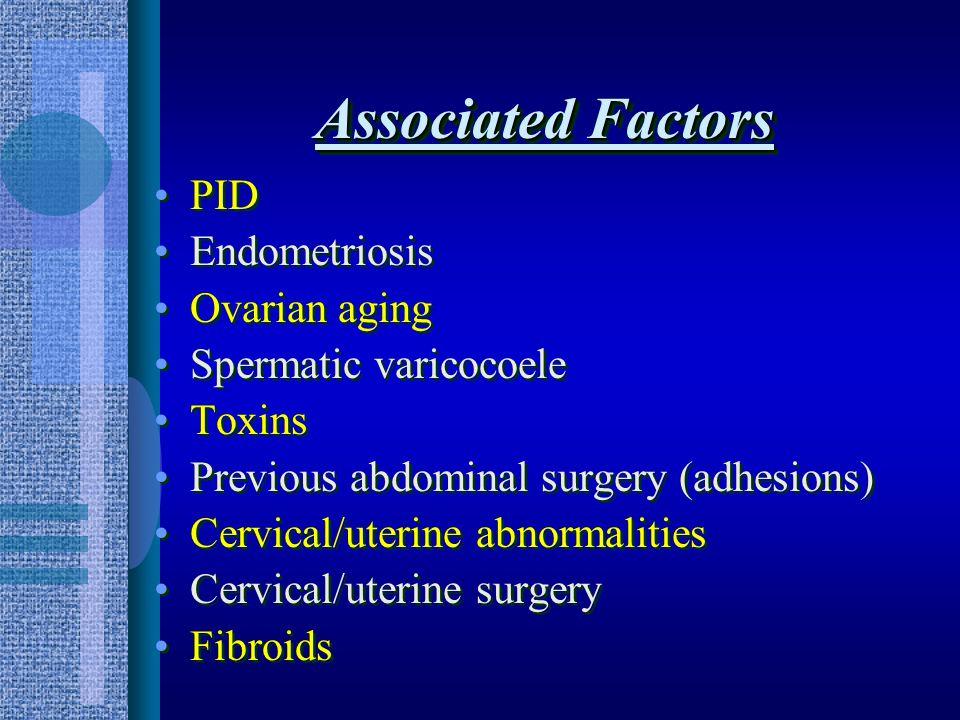 Associated Factors PID Endometriosis Ovarian aging Spermatic varicocoele Toxins Previous abdominal surgery (adhesions) Cervical/uterine abnormalities Cervical/uterine surgery Fibroids PID Endometriosis Ovarian aging Spermatic varicocoele Toxins Previous abdominal surgery (adhesions) Cervical/uterine abnormalities Cervical/uterine surgery Fibroids