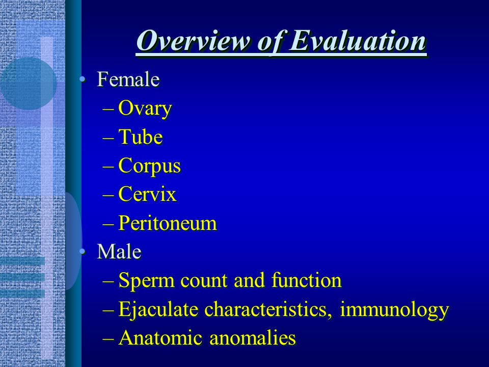 Overview of Evaluation Female –Ovary –Tube –Corpus –Cervix –Peritoneum Male –Sperm count and function –Ejaculate characteristics, immunology –Anatomic anomalies Female –Ovary –Tube –Corpus –Cervix –Peritoneum Male –Sperm count and function –Ejaculate characteristics, immunology –Anatomic anomalies