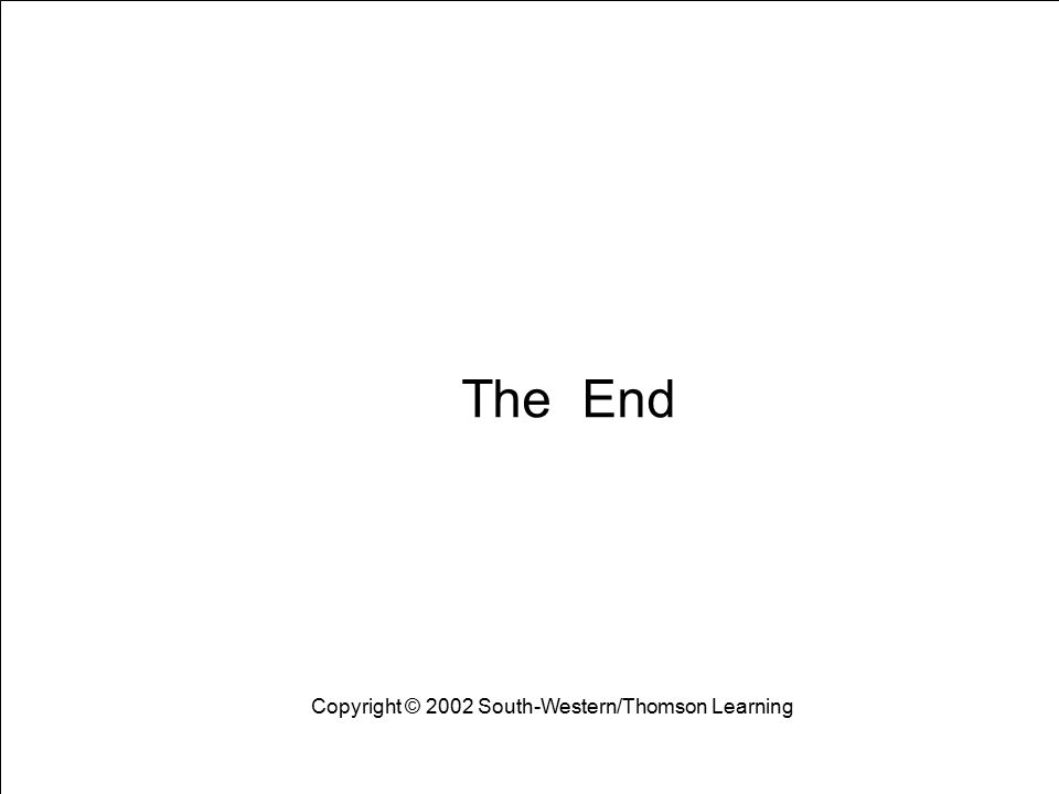 Learning Objectives 23 The End Copyright © 2002 South-Western/Thomson Learning