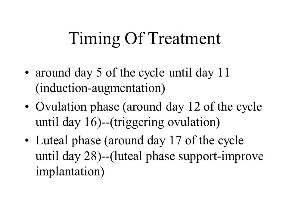 Timing Of Treatment around day 5 of the cycle until day 11 (induction-augmentation) Ovulation phase (around day 12 of the cycle until day 16)--(triggering ovulation) Luteal phase (around day 17 of the cycle until day 28)--(luteal phase support-improve implantation)