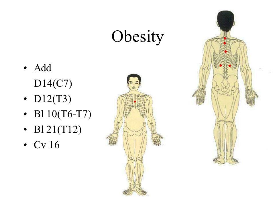 Obesity Add D14(C7) D12(T3) Bl 10(T6-T7) Bl 21(T12) Cv 16