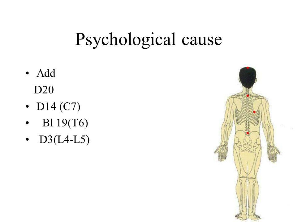 Psychological cause Add D20 D14 (C7) Bl 19(T6) D3(L4-L5)