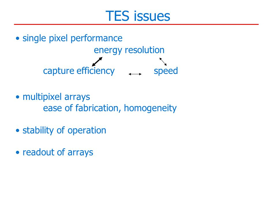 TES issues single pixel performance energy resolution capture efficiencyspeed multipixel arrays ease of fabrication, homogeneity stability of operation readout of arrays