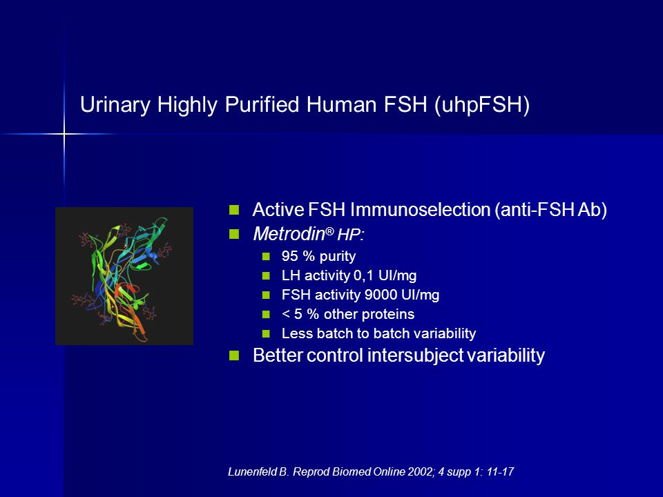 Urinary Highly Purified Human FSH (uhpFSH) Active FSH Immunoselection (anti-FSH Ab) Metrodin ® HP: 95 % purity LH activity 0,1 UI/mg FSH activity 9000