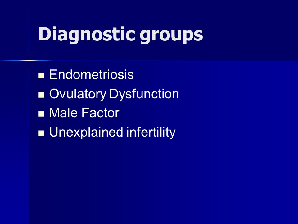 Diagnostic groups Endometriosis Ovulatory Dysfunction Male Factor Unexplained infertility