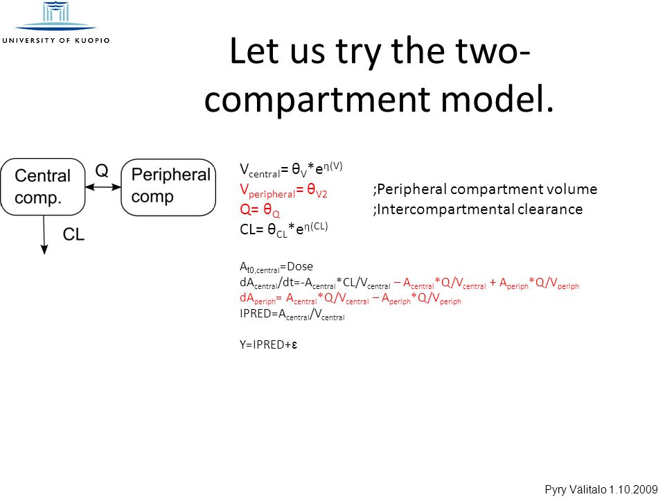 Pyry Välitalo 1.10.2009 Let us try the two- compartment model.