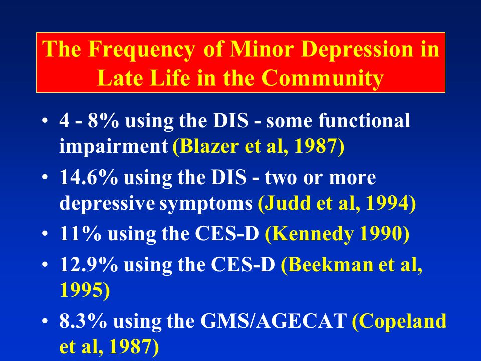 The Frequency of Minor Depression in Late Life in the Community 4 - 8% using the DIS - some functional impairment (Blazer et al, 1987) 14.6% using the DIS - two or more depressive symptoms (Judd et al, 1994) 11% using the CES-D (Kennedy 1990) 12.9% using the CES-D (Beekman et al, 1995) 8.3% using the GMS/AGECAT (Copeland et al, 1987)