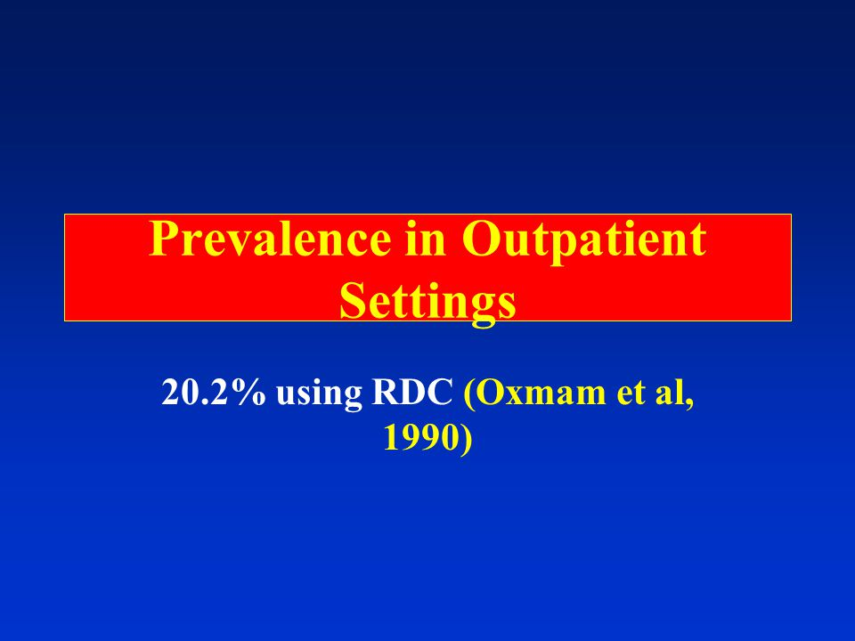 Prevalence in Outpatient Settings 20.2% using RDC (Oxmam et al, 1990)