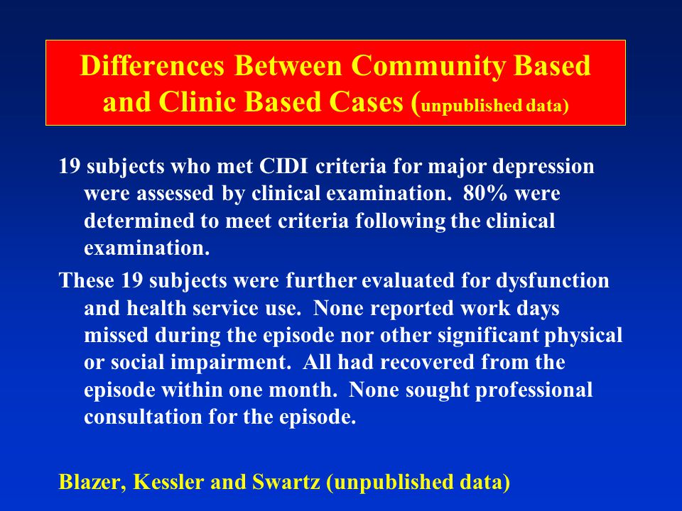 Differences Between Community Based and Clinic Based Cases ( unpublished data) 19 subjects who met CIDI criteria for major depression were assessed by clinical examination.