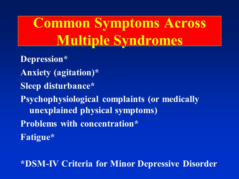 Common Symptoms Across Multiple Syndromes Depression* Anxiety (agitation)* Sleep disturbance* Psychophysiological complaints (or medically unexplained physical symptoms) Problems with concentration* Fatigue* *DSM-IV Criteria for Minor Depressive Disorder