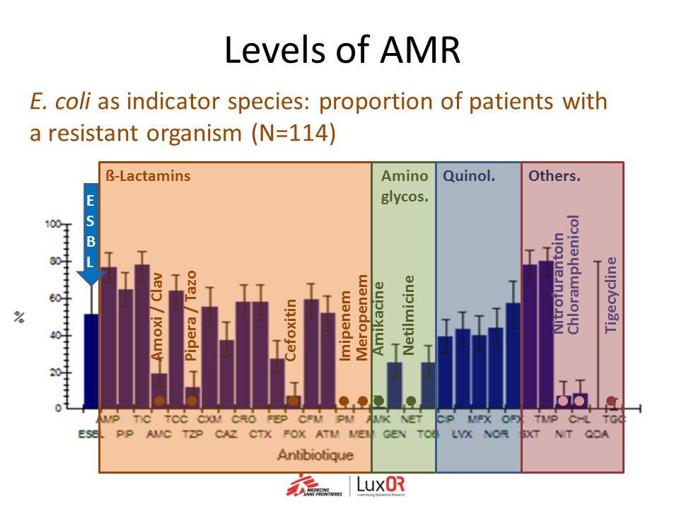 ß-Lactamins Meropenem Imipenem Cefoxitin Pipera / Tazo Amoxi / Clav Amino glycos. E. coli as indicator species: proportion of patients with a resistan