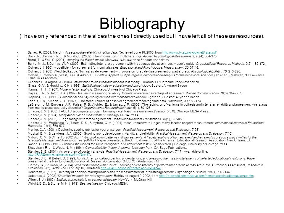 Bibliography (I have only referenced in the slides the ones I directly used but I have left all of these as resources). Barrett, P. (2001, March). Ass