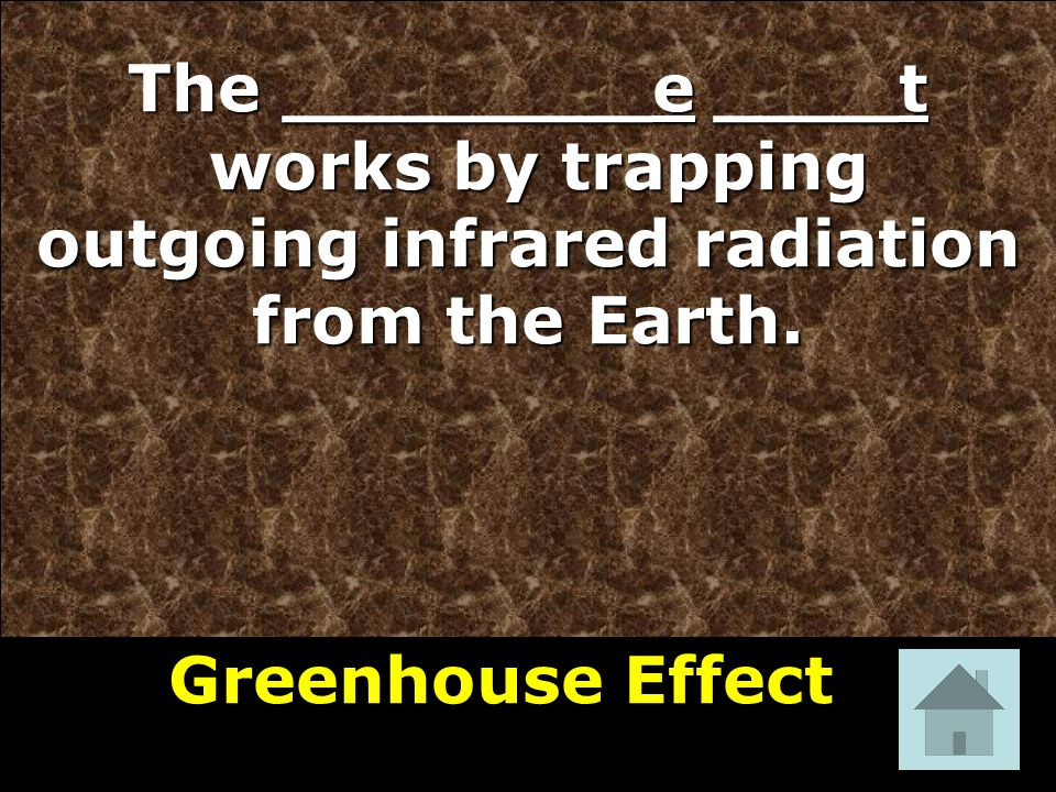 The ________e ____t works by trapping outgoing infrared radiation from the Earth.