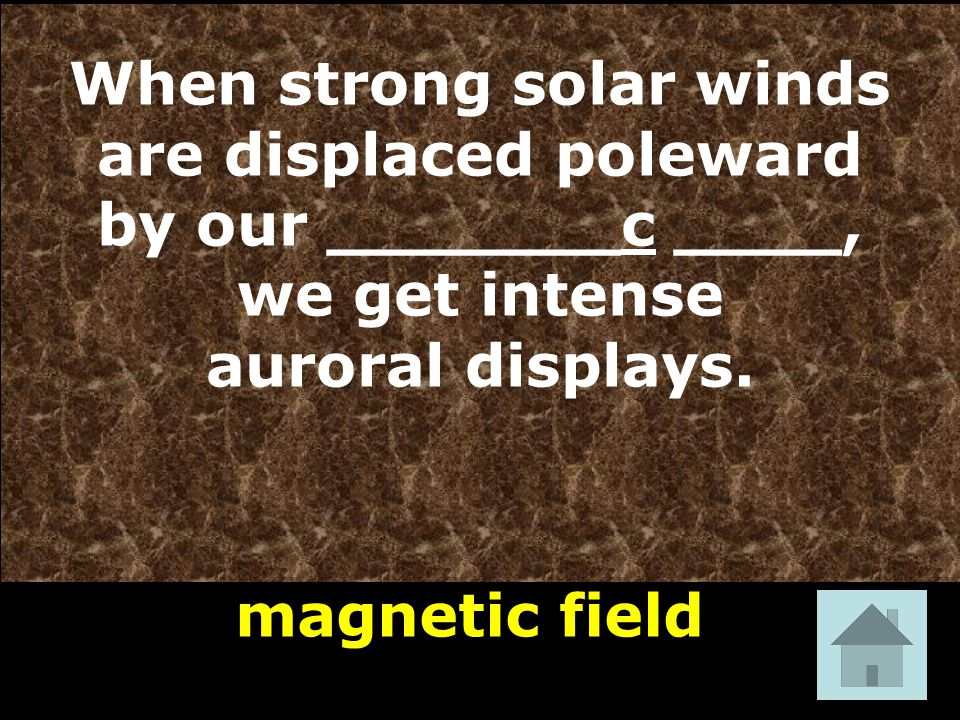 magnetic field When strong solar winds are displaced poleward by our _______c ____, we get intense auroral displays.