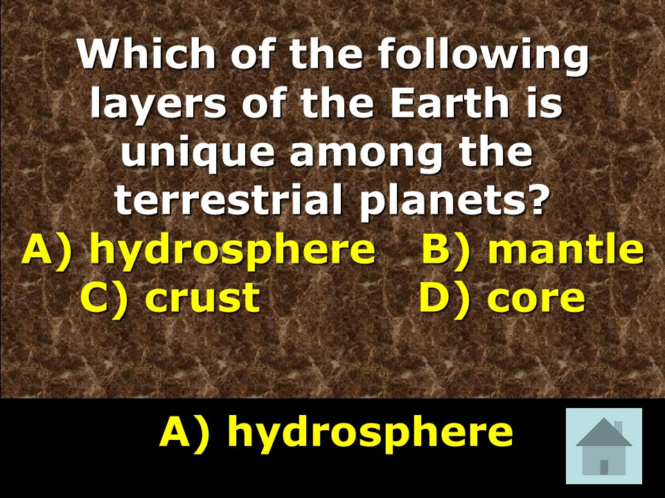 Which of the following layers of the Earth is unique among the terrestrial planets.