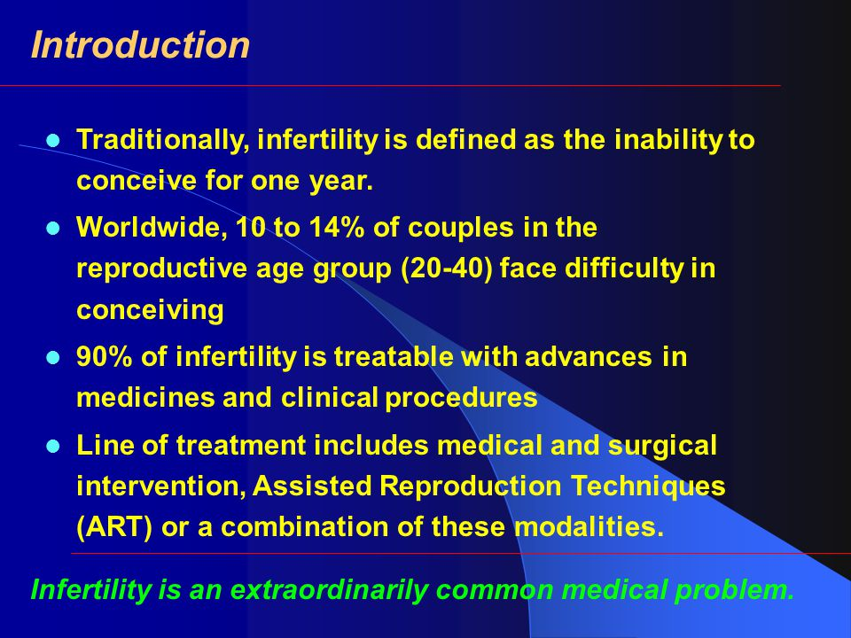 Introduction Traditionally, infertility is defined as the inability to conceive for one year.