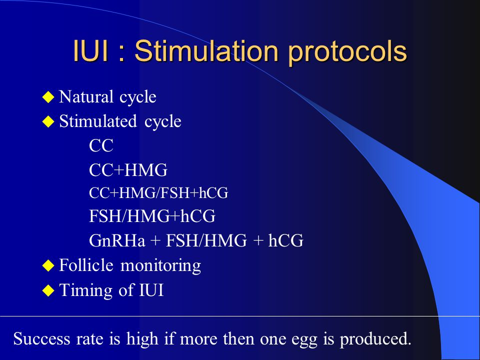 IUI : Stimulation protocols  Natural cycle  Stimulated cycle CC CC+HMG CC+HMG/FSH+hCG FSH/HMG+hCG GnRHa + FSH/HMG + hCG  Follicle monitoring  Timing of IUI Success rate is high if more then one egg is produced.