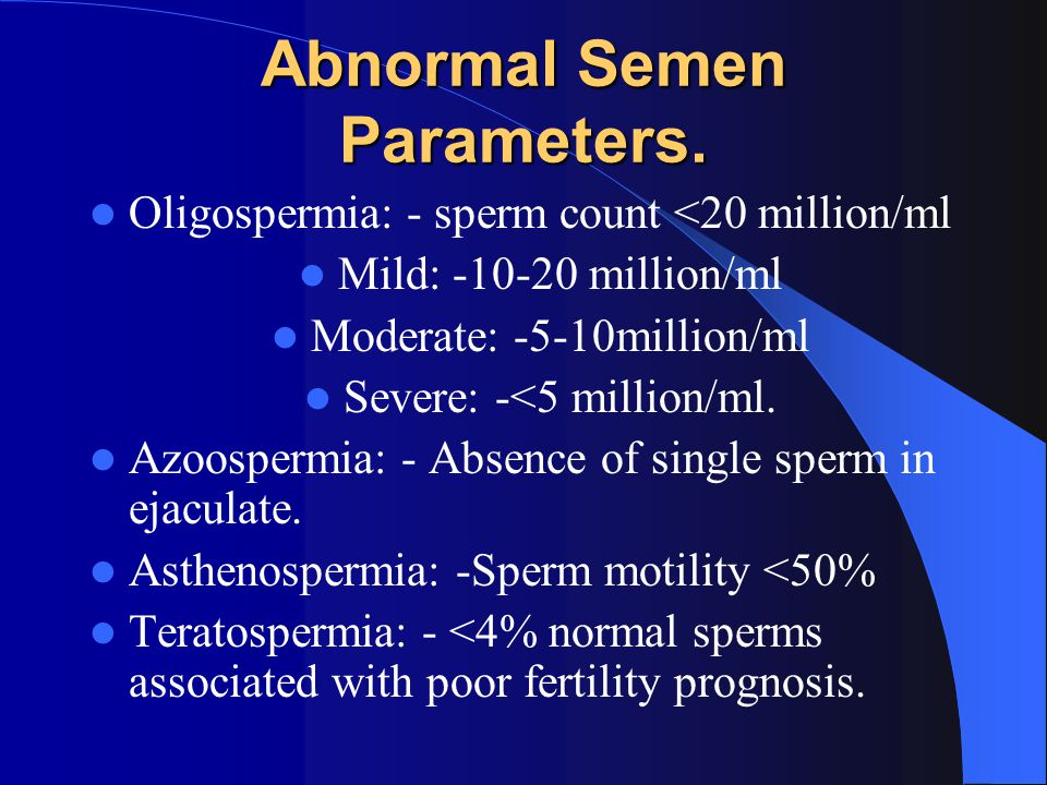 Abnormal Semen Parameters.
