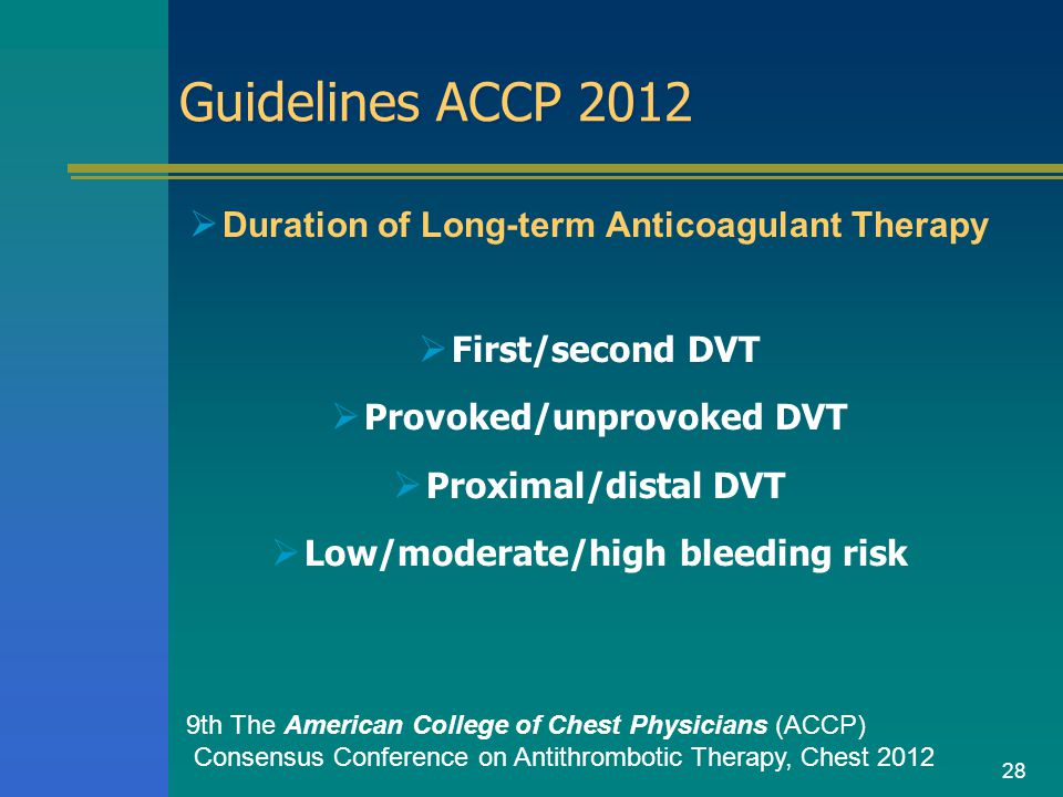 28 Guidelines ACCP 2012  Duration of Long-term Anticoagulant Therapy  First/second DVT  Provoked/unprovoked DVT  Proximal/distal DVT  Low/moderat