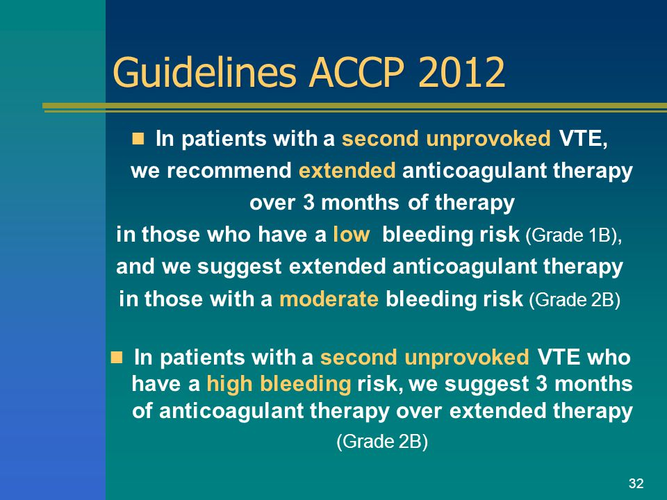 Guidelines ACCP 2012 In patients with a second unprovoked VTE, we recommend extended anticoagulant therapy over 3 months of therapy in those who have