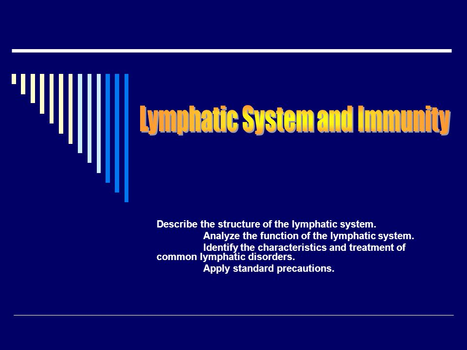 Describe the structure of the lymphatic system. Analyze the function of the lymphatic system. Identify the characteristics and treatment of common lym