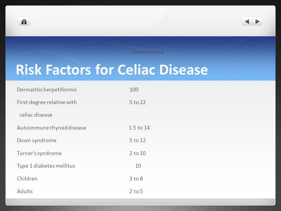 Risk Factors for Celiac Disease Prevalence among Dermatitis herpetiformis 100 First-degree relative with5 to 22 celiac disease Autoimmune thyroid dise