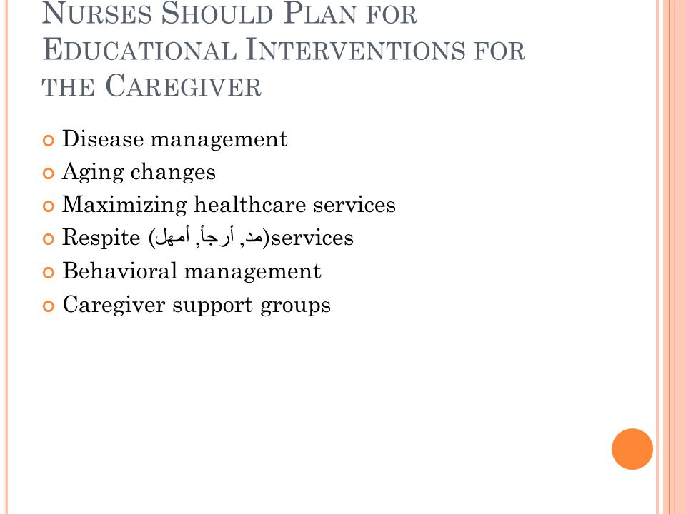 N URSES S HOULD P LAN FOR E DUCATIONAL I NTERVENTIONS FOR THE C AREGIVER Disease management Aging changes Maximizing healthcare services Respite ( مد, أرجأ, أمهل )services Behavioral management Caregiver support groups
