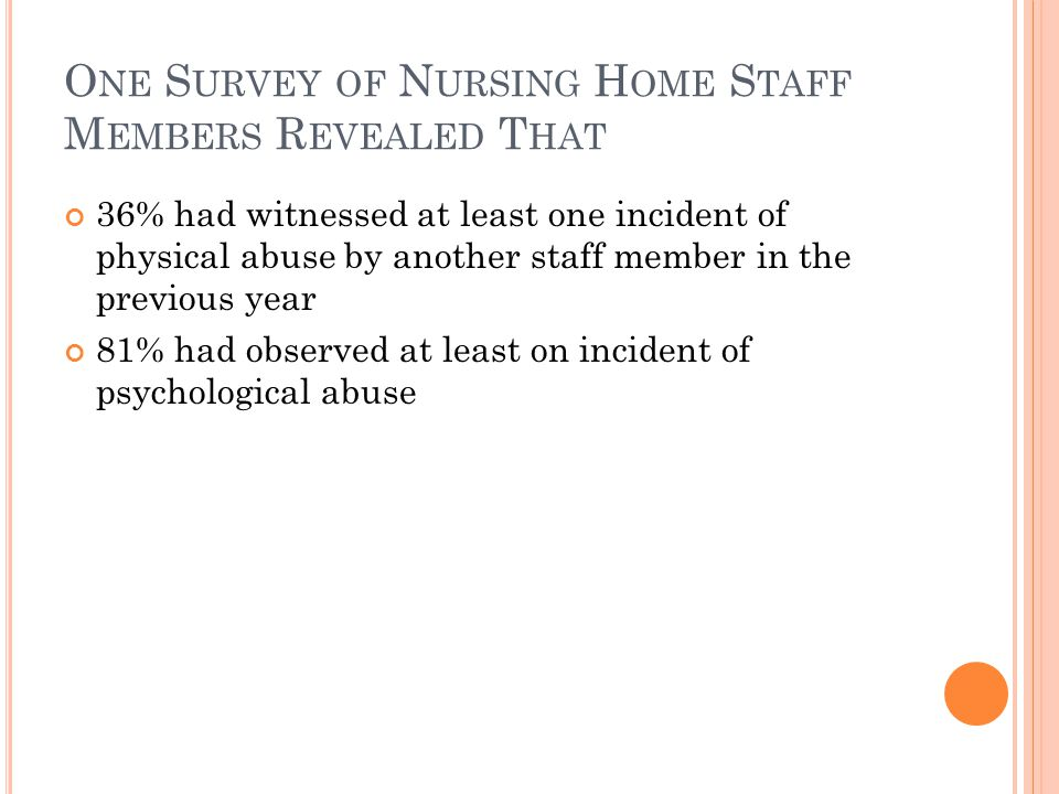 O NE S URVEY OF N URSING H OME S TAFF M EMBERS R EVEALED T HAT 36% had witnessed at least one incident of physical abuse by another staff member in the previous year 81% had observed at least on incident of psychological abuse