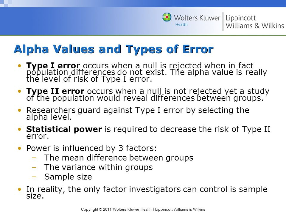 Copyright © 2011 Wolters Kluwer Health | Lippincott Williams & Wilkins Alpha Values and Types of Error Type I error occurs when a null is rejected when in fact population differences do not exist.