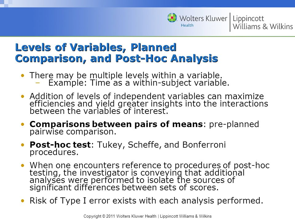Copyright © 2011 Wolters Kluwer Health | Lippincott Williams & Wilkins Levels of Variables, Planned Comparison, and Post-Hoc Analysis There may be multiple levels within a variable.