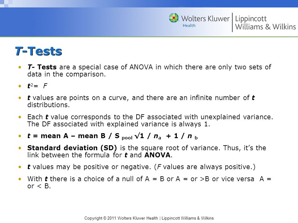 Copyright © 2011 Wolters Kluwer Health | Lippincott Williams & Wilkins T-Tests T- Tests are a special case of ANOVA in which there are only two sets of data in the comparison.